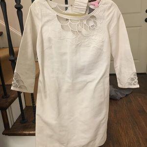 Lilly Pulitzer white quarter sleeve dress w belt